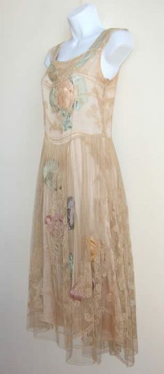 vintage 1920s dress | Martha Weathered dress with satin rosettes