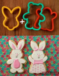 face cutter + teddy bear or ghost cutters = boy and girl bunnies Iced Cookies, Cute Cookies, Easter Cookies, Cupcake Cookies, Sugar Cookies, Cookie Favors, Baby Cookies, Flower Cookies, Heart Cookies