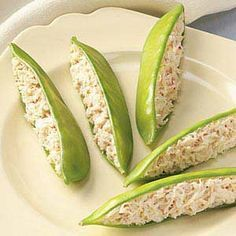 Crab Stuffed snow peas! yumm.    Crab stuffed anything is amazing! I love they decided to put it in snow peas. How creative! Crab is great but with stuffed crab comes many calories, watch out for calorie dense apps.