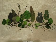 Playing with botanical prints with different leaves, I painted the scenery......  Assorted leaves give shades but I wanted it wi...