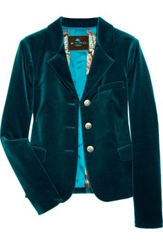 I have a jacket that looks a lot like this one. #jacket #velvet #teal