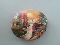 Painted stone with beautiful colors and scenery!