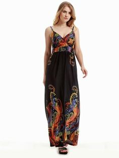 Summer Women Strap Printed Backless Beach Party Maxi Dress