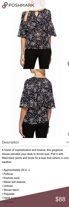 Ruffle Printed Blouse by Sunday in Brooklyn NWT! Please read last photo for description and details. Photos courtesy of belk. Actual pictures coming soon. Main color is navy Sunday in Brooklyn  Tops Blouses