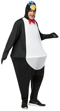 Waddle I Do For Fun This Halloween? How About Waddle Around In This Hoopster Penguin Costume! Costume Includes A Full-Length Polyester Black And White Bodysuit With Red Bowtie And Attached Hood That Has Eyes And A Beak. A Plastic Hoop Is Attached At The Unique Halloween Costumes, Adult Halloween Party, Creative Halloween Costumes, Halloween Outfits, Halloween Makeup, Cosplay Costumes For Men, Funny Costumes, Adult Costumes, Penguin Costume