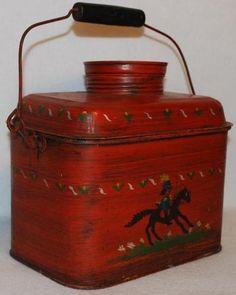 Antique Tin Lunch Box Folk Art Painted Very Unique