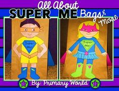 "All About ""Super Me"" Back to School Lunch Bag Craftivity 6 different hero templates, Capes on back of bags are a list for Children to write what they brought! Note to home included SUPER Getting Acquainted Activity~"