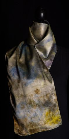 Natural dye on silk.  Purple tulip with copper.