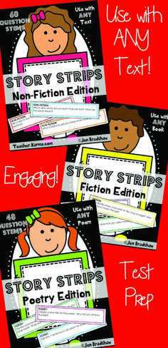Questions that will work with ANY text!  Non-fiction, Fiction, & Poetry included!!!!  Your kiddos won't even know it's the perfect test prep materials!  Question Stems BUNDLE! TeacherKarma.com #test #prep