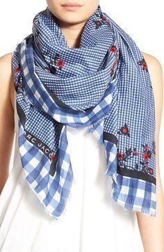 MARC JACOBS 'Pop Bouquet' Gingham Cotton & Silk Scarf