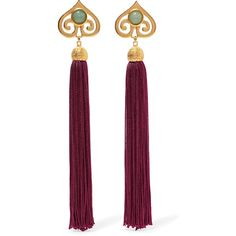 Ben-Amun - Gold-tone, Stone And Tassel Clip Earrings (535 MYR) ❤ liked on Polyvore featuring jewelry, earrings, burgundy, clip back earrings, clip earrings, gold tone earrings, gold colored jewelry and earring jewelry