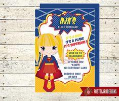 Super GIRL Birthday Invitation SuperGIRL by PhotocardDesign