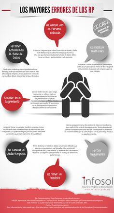 Los mayores errores de los relaciones Públicas Fuente: http://www.infosol.com.mx/CGI-BIN/wordpress/index.php/arte-latte?pid=33 #infografia #infographic #marketing