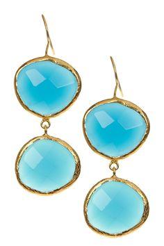 Blue Chalcedony Double Drop Earrings by Gab+Cos Designs on @HauteLook