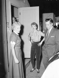 Lucille Ball, Vivian Vance & Desi Arnaz  (This is kind of funny because I can just guess that Lucy is NOT very happy about being interrupted during rehearsals lol)  I Love Lucy - backstage