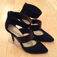 Aldo black strapped heels Aldo black strapped heels. 100% leather and suede ALDO Shoes Heels