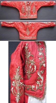 An embroidered long-sleeved vest (called 'cepken') from the central district of the Sakarya (Adapazarı) province. Part of the traditional bridal/festive ensemble, together with a matching 'şalvar' (baggy trousers). Made ca. 1950. Adorned with silver thread embroidery on silk ('Maraş işi'-technique), minuscule silvery spirals and small metal sequins. (Inv.n° cep034 - Kavak Costume Collection - Antwerpen/Belgium).