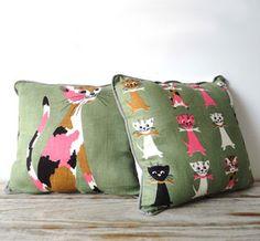 Kitty Graphic Pillows  #housewares #pillow #cat