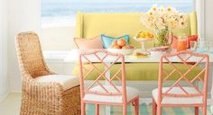 Bright Hues: Saturated pastels feel fresh for spring, bringing a vibrant look to any coastal space.