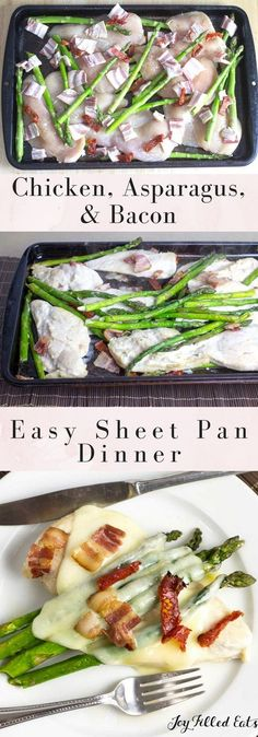 Easy Chicken & Asparagus Sheet Pan Dinner with Bacon & Sundried Tomatoes - Low Carb, Grain/Gluten Free, THM S via /joyfilledeats/