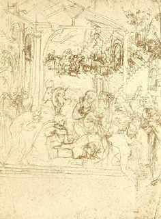 dessins Léonard de Vinci - Dessins Leonard de Vinci - l adoration des mages…