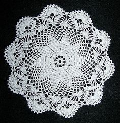 """Dollhouse Miniature Tablecloth / Doily 6 1/2"""" White Hand Crocheted New"""