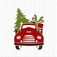 Christmas old truck with tree and gift svg, dxf, jpeg, cutting files For Silhouette Cameo, Portrait, Curio, Cricut With this purchase, you will receive a zipped folder containing this image in SVG, DXF and JPEG formats