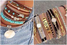 Inspiração: Mix de Pulseiras Hippie Chic, Boho Chic, Girls Tumbler, Magical Jewelry, Bangles, Beaded Bracelets, Homemade Jewelry, Tumblr Girls, Vsco