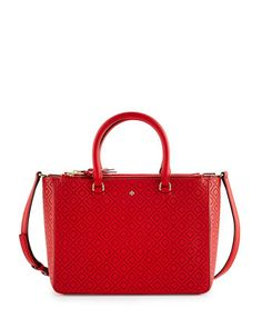 Robinson Perforated Small Multi Tote Bag Vermilion By Tory Burch At Neiman Marcus
