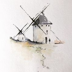 Windmills in Spain, Me, Watercolor and ink, 2019 : Art Watercolor Architecture, Watercolor Landscape Paintings, Watercolor Sketch, Watercolor Illustration, Watercolour Painting, Windmill Art, Urban Sketching, Art Drawings, Art Prints