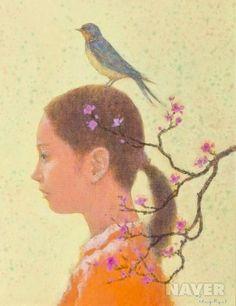<기다림 by 박항률> 박항률 화가는 '기다림'이라는 주제로 많은 작품을 만들었다. 이 작품도 그 중 하나이다. 지루하게 느껴질 수 있는 '기다림'이란 정서를 이 화가는 꽃, 새 등과 함께 표현하여 아름답고 산뜻하게 그려내고 있다.