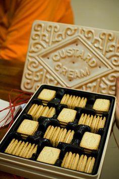 Custard Cream biscuits in a Custard Cream biscuit tin - dunking heaven