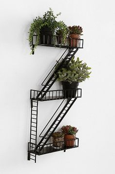 Fire Escape Wall Shelf #luvocracy #design #plants