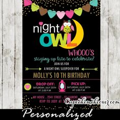 Who's staying up late to celebrate? Adorable Sleepover party invitations featuring a cute night owl design in pink, green, blue, brown and yellow colors with heart shaped bunting flags against a black backdrop and a sprinkle of faux gold glitter. Perfect for girls pajama or slumber party ideas of a wide range of ages including 8, 9, 10, 11, 12 year olds! #cupcakemakeover