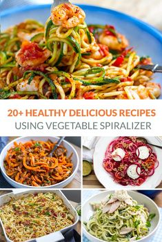 20 Awesome Spiralizer Recipes To Try Today 20 Healthy Spiralizer Recipes Zucchini Noodle Recipes, Zoodle Recipes, Zucchini Noodles, Carrot Noodles, Spiralizer Recipes Vegetarian, Sweet Potato Spiralizer Recipes, Potato Recipes, Spiral Vegetable Recipes, Vegetable Dishes