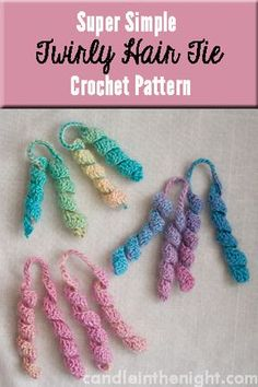 This super simple twirly hair tie crochet pattern works up in no time at all! A great gift for a little girl in your life!