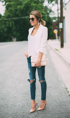 Blazer Jeans, Look Blazer, Ripped Jeans, Ag Jeans, Ankle Jeans, Skinny Jeans, Look Fashion, Fashion Outfits, Fashion Trends