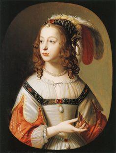 Portrait of Sophia, Princess Palatine (1641).Gerard van Honthorst (Dutch, 1592-1656).Oil on cradled oak panel.The Detroit Institute of Arts.