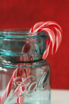 Candy Canes in vintage aqua ball jar. Country Christmas, Christmas Candy, Christmas Colors, All Things Christmas, White Christmas, Vintage Christmas, Christmas Holidays, Christmas Decorations, Merry Christmas