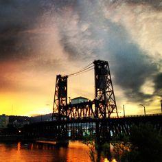 Steel Bridge Sunset, Portland, Oregon —$19