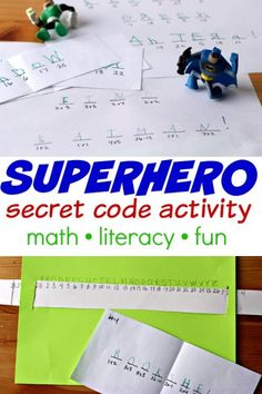Try this secret code activity for kids. Decode the hidden messages and clues to find the superheroes! A fun math and literacy activity for kids. Super Hero Activities, Math Activities For Kids, Math For Kids, Kids Learning, Kids Fun, Summer Activities, Math Literacy, Homeschool Math, Fun Math