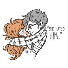 james/lily<<oml I thought at first the scarf was his arms but it's a cute drawing Lily Potter, Harry Potter Wizard, Harry Potter Artwork, Harry Potter Ships, Harry Potter Anime, Harry Potter Books, James Potter, Harry Potter Universal, Harry Potter World