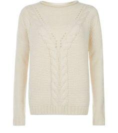 Cream Drop Shoulder Cable Knit Jumper