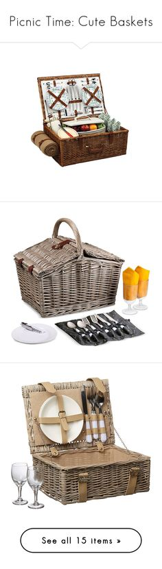 """""""Picnic Time: Cute Baskets"""" by polyvore-editorial ❤ liked on Polyvore featuring picnicbaskets, home, kitchen & dining, food storage containers, none, wicker picnic basket, handmade baskets, hand made baskets, picnic at ascot and wicker picnic hamper"""