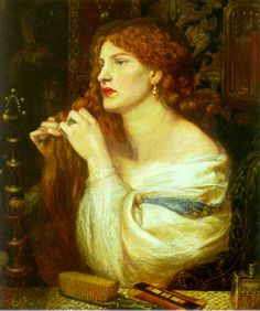 Portrait painting of a young woman knotting her long red hair