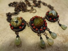 Red  and Brown Dangle Necklace by durgajewelry on Etsy https://www.etsy.com/listing/223783380/red-and-brown-dangle-necklace