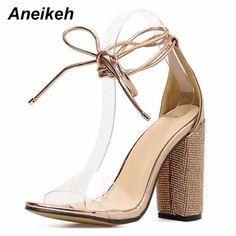 Aneikeh las mujeres zapatos de tacón alto sandalias de verano tacones  cuadrados de sandalias con plataforma bc25af648af4