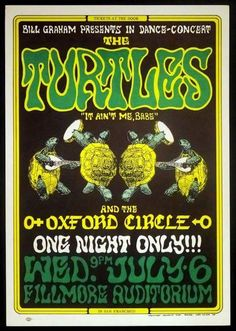"""July 6th,1966, That This One Night Only Dance/Concert Took Place With The Turtles & Oxford Circle At The Fillmore Auditorium In San Francisco. The Turtles Big Hit That Was Their Only #1 On The Charts At The Time """"Happy Together"""" The Source Of The Images On This """"Poster From The Past"""" Is From German Cartoon Artist Heinrich Kley, Who Passed Away In 1941. This Piece Created By Wes Wilson, Surrounded By His Usual Great Lettering. This Is BG Fillmore Poster #15 In The Original Series, Printed…"""