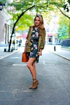 army green + floral dress