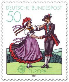 """Briefmarke: """"Tracht aus dem Schwarzwald (Folklore-Tanz)"""" 1981"""